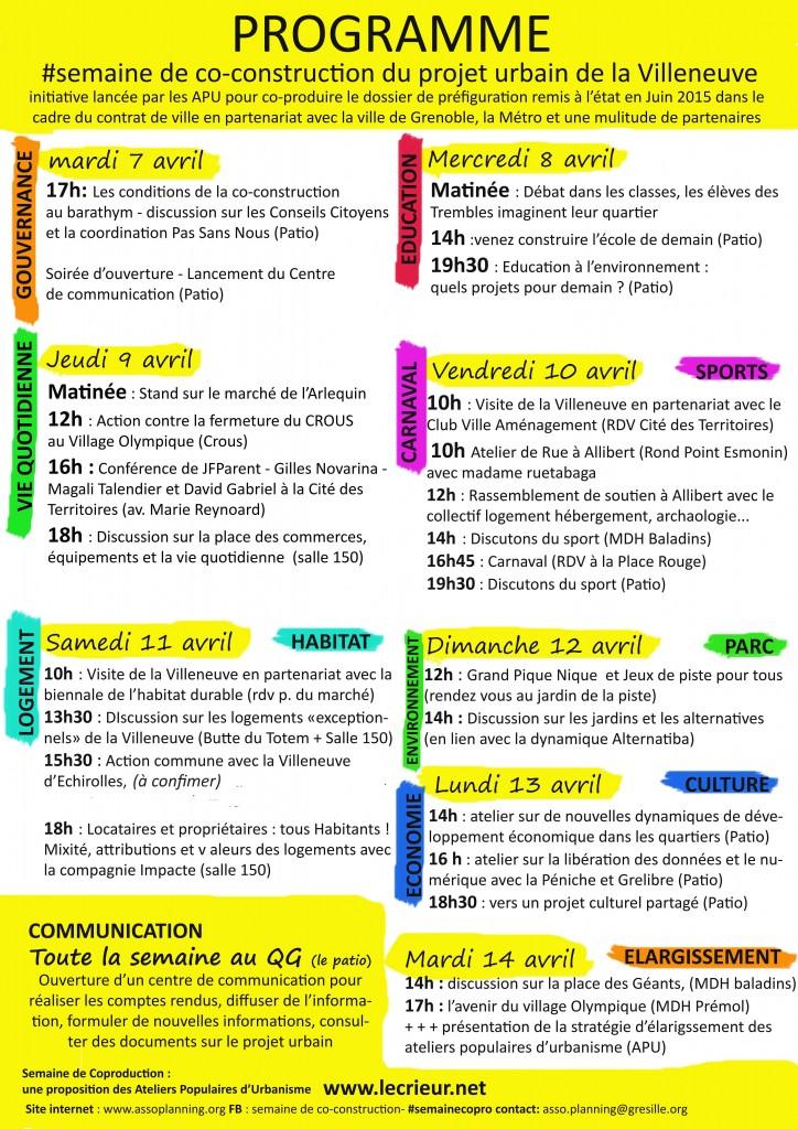 Le planning de la semaine de co-construction sur les projets de rénovation urbaine à la Villeneuve.