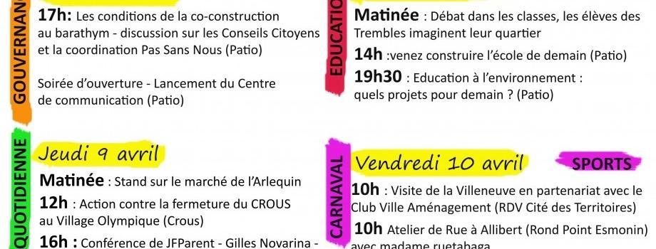 Le programme de la semaine de co-construction des projets de rénovation urbaine