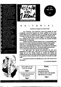 Le numéro 39 (mai 2001) du journal Des Enfants S'en Mêlent, rédigé par les élèves de l'école des Charmes.