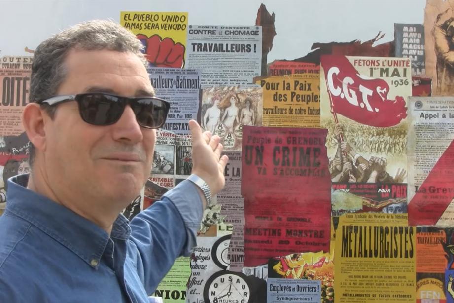 La fresque d'Ernest Pignon-Ernest sur la bourse du travail a été refaite à neuf dans le cadre du festival de street art de Grenoble.