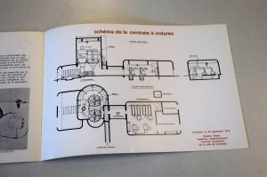Schéma de fonctionnement de la centrale d'aspiration des déchets, dans une plaquette de communication éditée par la la ville (1973, archives municipales de Grenoble)