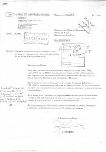 Courrier de la société Socea attestant de la mise en service du système de collecte le 28 avril 1972. (archives municipales de Grenoble)