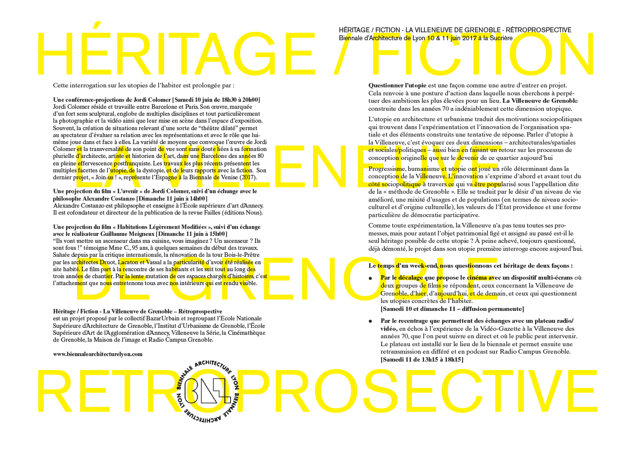 Héritage / Fiction - La Villeneuve de Grenoble @ La Sucrière