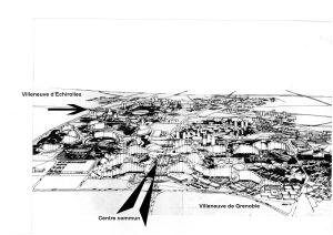 Dessin des Villeneuves de Grenoble et d'Échirolles, telles qu'elles ont été conçues. (archives Jean-François Parent)