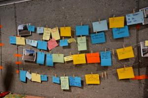 Les propositions d'aménagement de la crique centrale recueillies par le collectif Aidec. (photo : Déborah Mougin, Le Crieur de la Villeneuve)