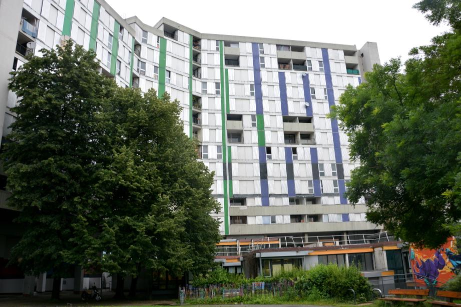 Le 20 galerie de l'Arlequin (à gauche, motifs verts), prévu à la démolition, et le 10 (à droite, motifs bleus) hébergent encore officiellement 71 foyers. (photo : BB, Le Crieur de la Villeneuve)