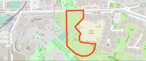 Parcelle retenue pour construire le nouveau collège Lucie Aubrac, telle que présentée par le Conseil départemental lundi 2 juillet. (fond de carte : OpenStreetMap)