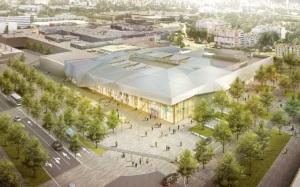 Vue d'architecte des possibles futurs aménagements de Grand'Place (vue de l'angle entre l'avenue de l'Europe et l'avenue Marie Reynoard) (image : La Métro)