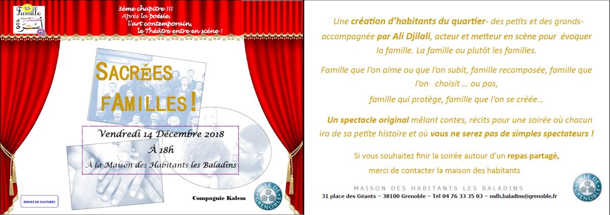 Sacrées familles !, spectacle théâtral @ Maison des habitants des Baladins