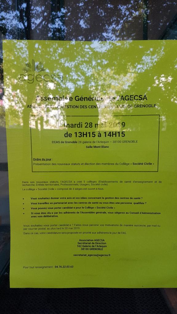 Assemblée générale de l'Agecsa (centres de santé) @ CCAS de Grenoble, salle Mont Blanc