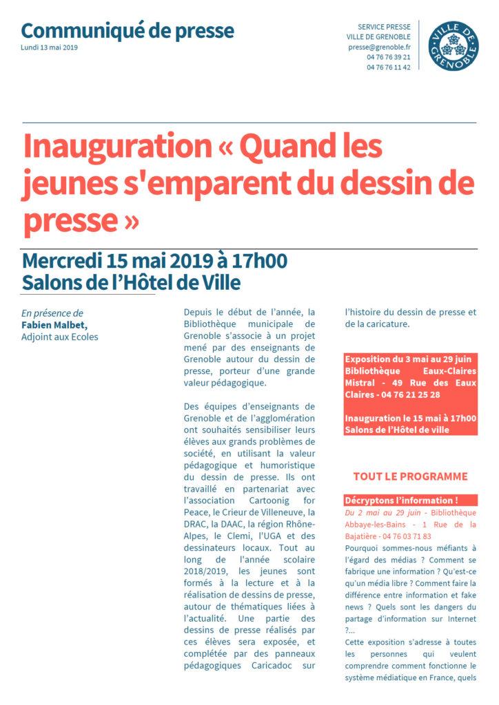 """Vernissage de l'exposition """"Quand les jeunes s'emparent du dessin de presse"""" @ Hôtel de ville de Grenoble"""