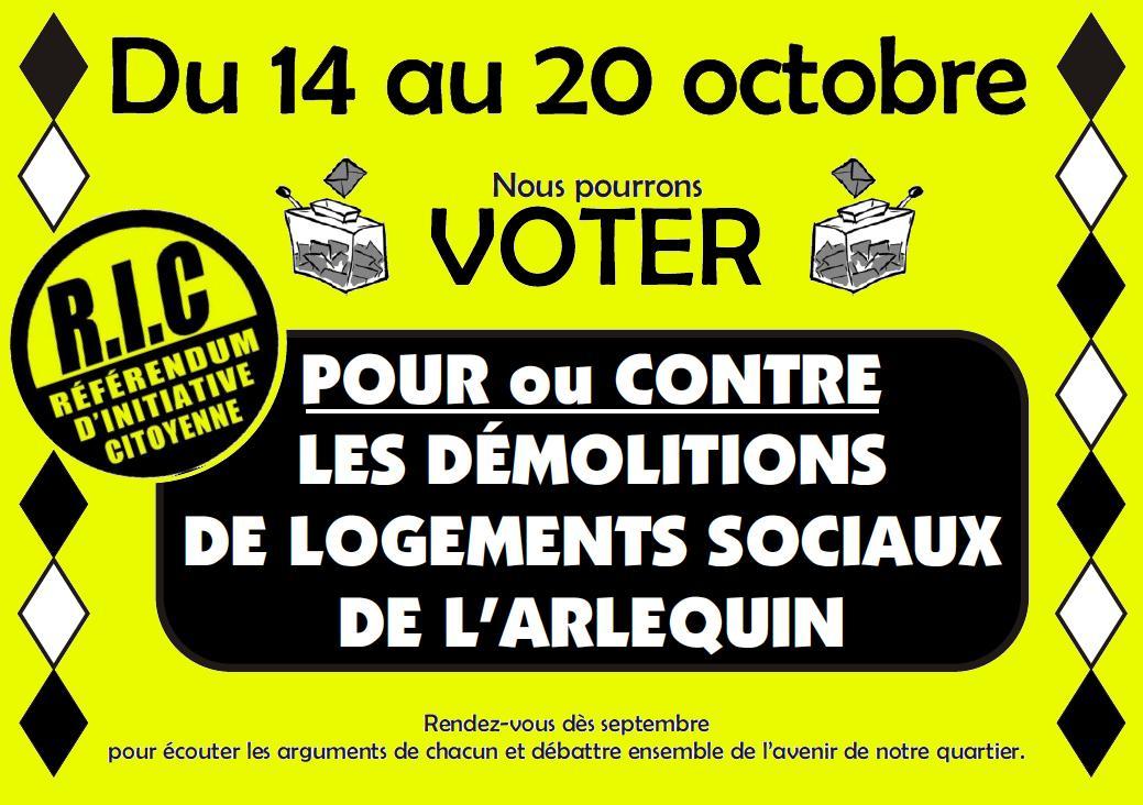 """Réunion publique / débat contradictoire : """"Pour ou contre les démolitions de logements sociaux à l'Arlequin ?"""" @ Salle 150"""