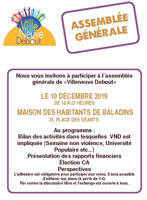 Assemblée générale de l'association Villeneuve Debout @ Maison des habitants des Baladins