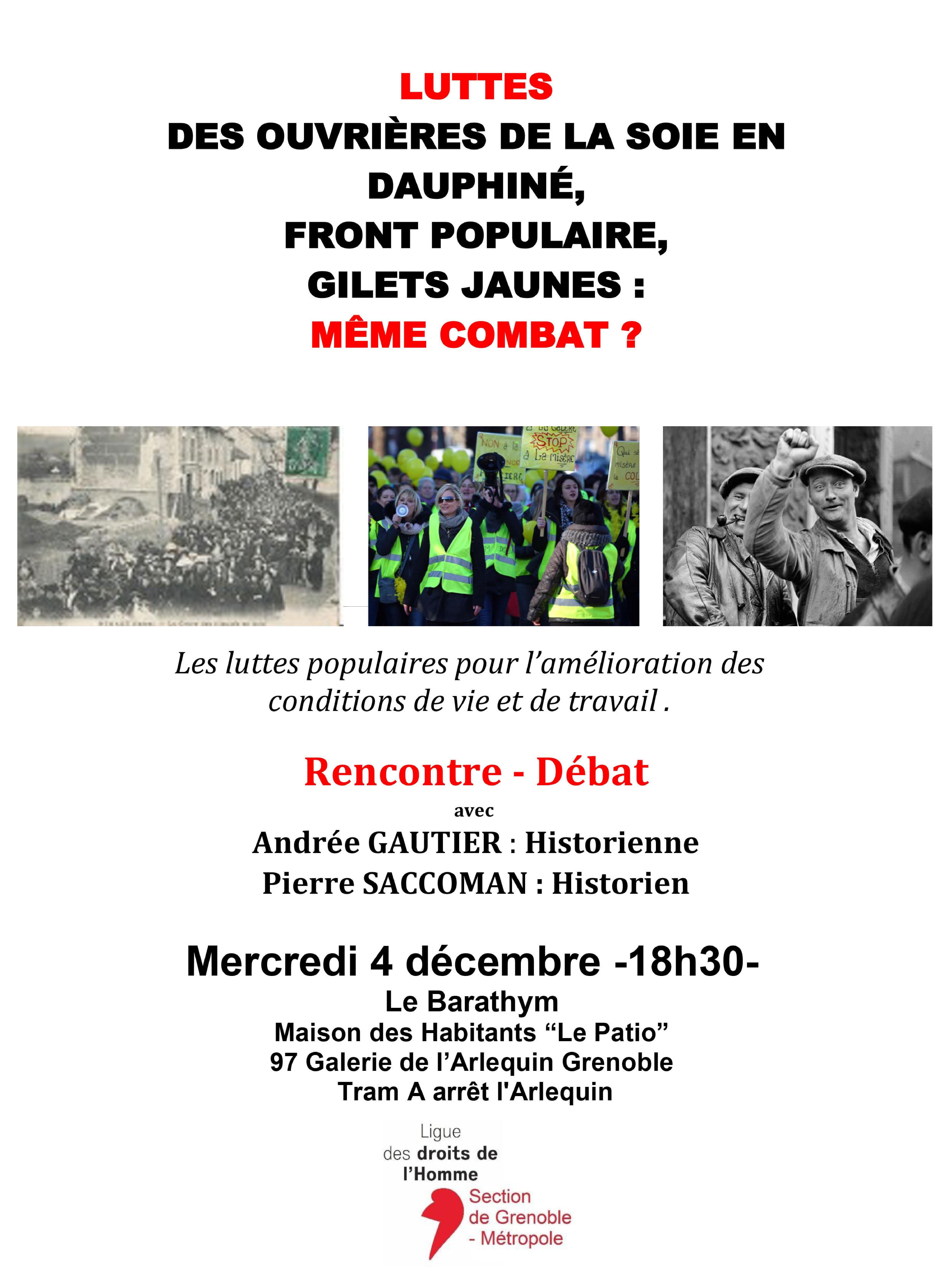Rencontre-débat sur les luttes ouvrières d'hier et d'aujourd'hui @ Le Barathym