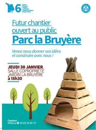 """Réunion d'information sur le chantier """"ouvert au public"""" du parc La Bruyère @ Salle de la copropriété Jardin de la La Bruyère"""