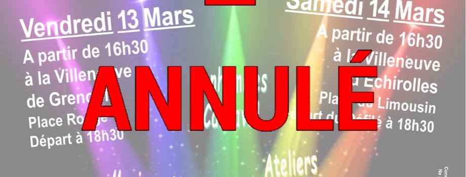 Annulation du carnaval de la Villeneuve