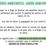 La Régie appelle à la solidarité des habitants pour la fabrication de masques