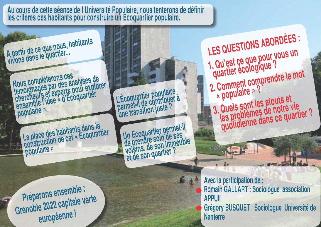 [Université populaire] Qu'est-ce qu'un écoquartier populaire ? @ Maison des habitants des Baladins & visioconférence